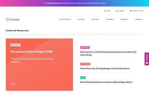 Screenshot of Case Studies Page divvycloud.com - Resources - DivvyCloud - captured Dec. 5, 2019