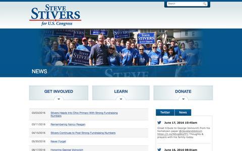 Screenshot of Press Page stevestivers.com - News | Steve Stivers for U.S. Congress - captured June 18, 2016
