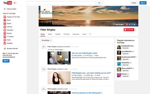 Screenshot of YouTube Page youtube.com - Fitter Singles  - YouTube - captured Oct. 25, 2014