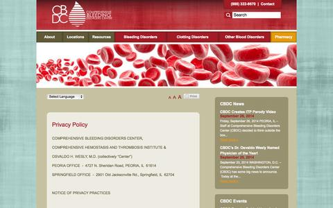 Screenshot of Privacy Page compbleed.com - Privacy Policy - Comprehensive Bleeding Disorders Center - captured Oct. 1, 2014