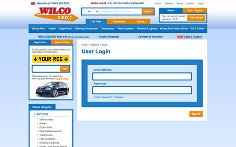 Screenshot of Login Page wilcodirect.co.uk - User Login - captured Sept. 24, 2014