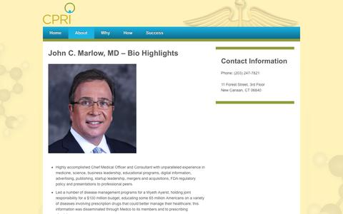 Screenshot of About Page cpri.us - John C. Marlow, MD - Bio Highlights - CPRI - captured Oct. 2, 2014