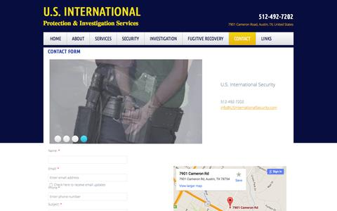 Screenshot of Privacy Page Contact Page usinternationalsecurity.com - U.s. international Security In Austin, Tx : Contact - captured Feb. 3, 2016