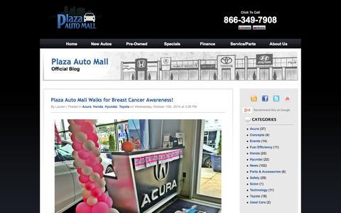 Screenshot of Blog plazaautomall.com - Plaza Auto Mall Blog - Part 1 - captured Oct. 27, 2014