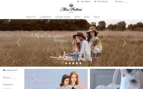 Screenshot of Home Page misspatina.com - Miss Patina - Vintage Inspired Fashion - captured Oct. 23, 2015