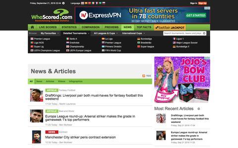 Screenshot of Press Page whoscored.com - News & Articles - captured Sept. 21, 2018