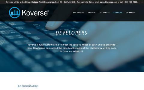 Screenshot of Developers Page koverse.com - Developers — Koverse - captured Sept. 24, 2015