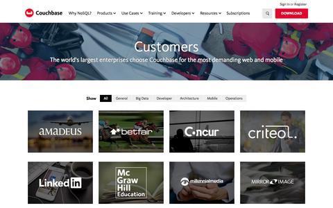 Screenshot of Case Studies Page couchbase.com - Customers - captured Nov. 23, 2015