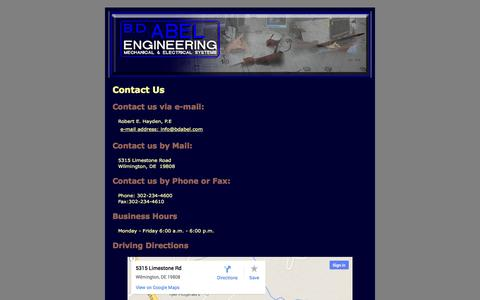 Screenshot of Contact Page Site Map Page bdabel.com - Contact Us - captured Oct. 22, 2014