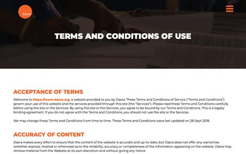 Screenshot of Terms Page dasra.org - Dasra | Terms Of Use - captured Nov. 6, 2018