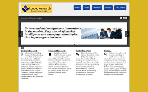 Screenshot of Home Page lancetresearch.com - Lancet Research - Business Analytics and Insights - captured Sept. 27, 2014