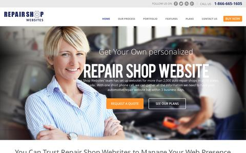 Screenshot of Home Page repairshopwebsites.com - Home | Repair Shop Websites - captured Aug. 13, 2016