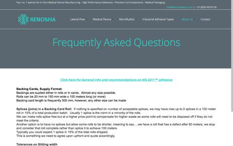 Screenshot of FAQ Page kenoshatapes.com - Kenosha Tapes     Frequently Asked Questions - captured Oct. 16, 2017