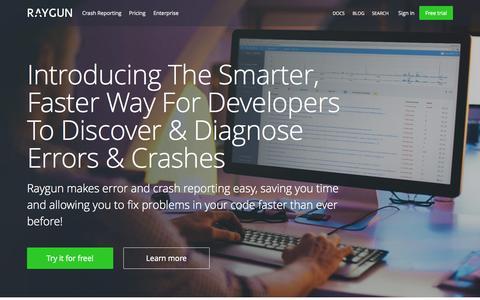 Screenshot of raygun.io - Error Handling & Crash Reporting | Raygun - captured Sept. 20, 2015