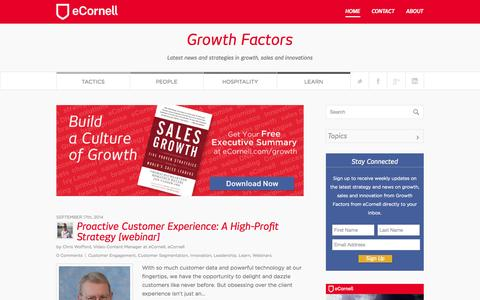 Screenshot of Blog ecornell.com - Growth Factors | Latest news and strategies in growth, sales and innovations - captured Sept. 19, 2014