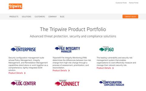 Screenshot of Products Page tripwire.com - Tripwire Products - captured May 9, 2017