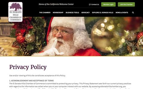 Screenshot of Privacy Page eldoradohillschamber.org - Privacy Policy | El Dorado Hills Chamber of Commerce - El Dorado Hills, CA - captured Nov. 1, 2016