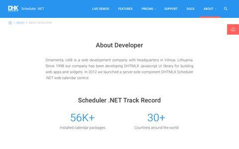 Screenshot of About Page scheduler-net.com - DHTMLX Scheduler .NET About Developer - captured Oct. 30, 2017