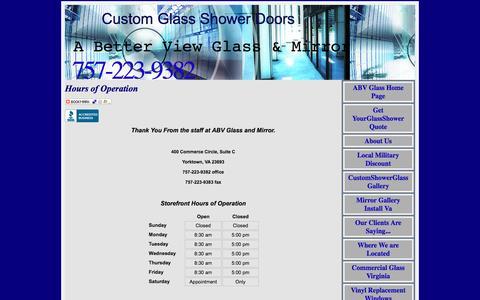 Screenshot of Hours Page wantabetterview.com - Glass Mirrors Showers Hampton Roads Virginia - captured Oct. 18, 2016
