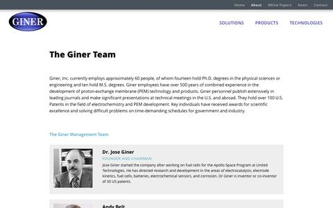 Screenshot of About Page Team Page ginerinc.com - Giner Team - captured Dec. 6, 2016