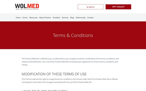 Screenshot of Terms Page wolmed.com - Terms & Conditions: Pain Management Specialists Dallas, TX & Denton, TX: WolMed - captured Nov. 12, 2017