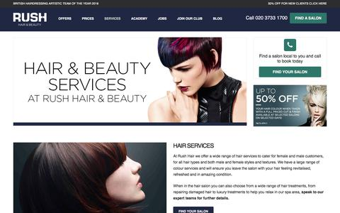 Screenshot of Services Page rush.co.uk - Services Archive | Rush Hair & Beauty - captured Sept. 24, 2018