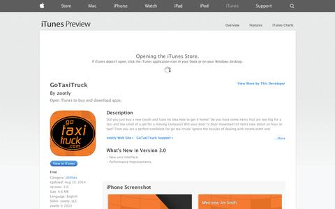 Screenshot of iOS App Page apple.com - GoTaxiTruck on the App Store on iTunes - captured Oct. 22, 2014