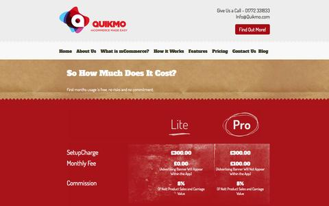Screenshot of Pricing Page quikmo.com - Pricing - captured Sept. 30, 2014