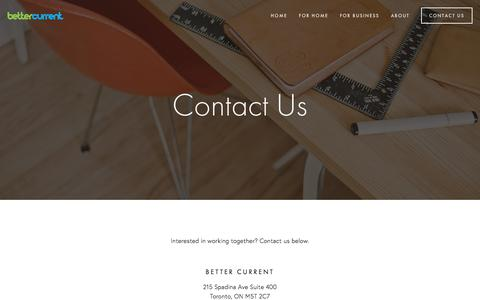 Screenshot of Contact Page bettercurrent.com - Contact Us — Better Current - captured Aug. 1, 2018