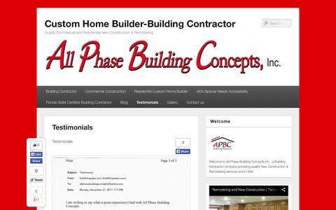 Screenshot of Testimonials Page allphasebuildingconcepts.com - Testimonials - Custom Home Builder-Building Contractor - captured Oct. 4, 2014