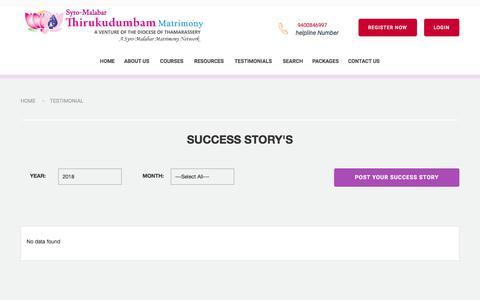 Screenshot of Testimonials Page thirukudumbammatrimony.com - Thirukudumbam Matrimony | Diocese of Thamarassery-Success Stories in Syro-Malabar Matrimony - Catholic Matrimony, Christian Matrimony, Kerala Catholic Matrimonial - captured Jan. 31, 2018