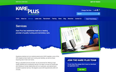 Screenshot of Services Page kareplus.co.uk - Services | Kare Plus - captured Oct. 6, 2014