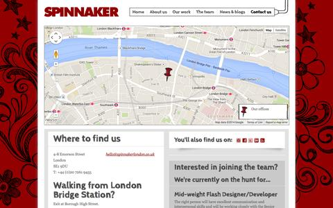 Screenshot of Contact Page spinnakerlondon.co.uk - Contact us | Spinnaker LLP - captured Sept. 30, 2014