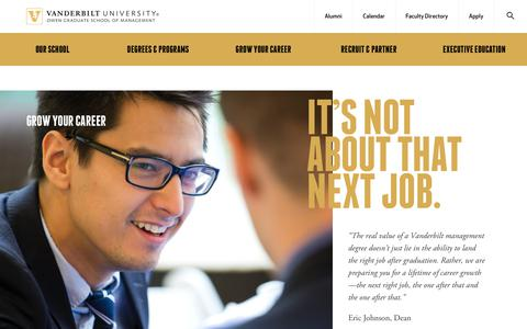 Screenshot of Jobs Page vanderbilt.edu - Grow Your Career | Vanderbilt Business School - captured Jan. 28, 2018