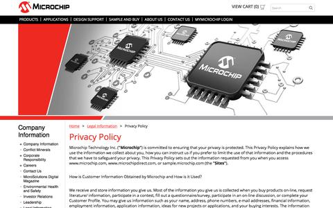 Screenshot of Privacy Page microchip.com - Privacy Policy | Microchip Technology - captured May 27, 2018