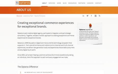 Screenshot of About Page optaros.com - Creating exceptional commerce experiences for exceptional brands. | Optaros - captured Sept. 13, 2014