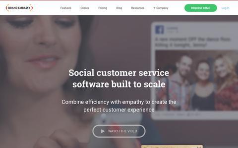 Screenshot of Home Page brandembassy.com - Social Customer Service Software   Brand Embassy - captured July 3, 2016