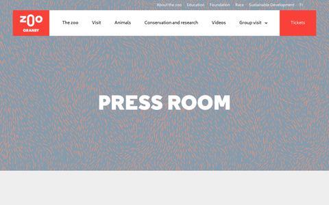 Screenshot of Press Page zoodegranby.com - Press room - Zoo de Granby - captured Oct. 30, 2019