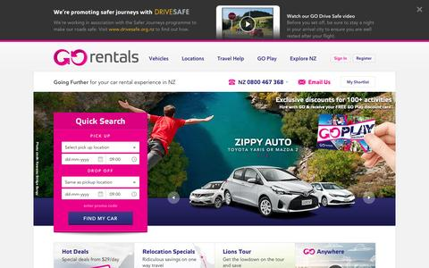 Screenshot of Home Page gorentals.co.nz - GO Rentals - Rental Cars NZ - Rental Cars from $29/day - captured May 4, 2017