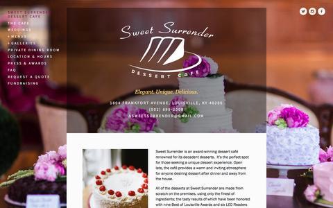 Screenshot of Home Page sweetsurrenderdessertcafe.com - Sweet Surrender Dessert Cafe - captured March 16, 2016