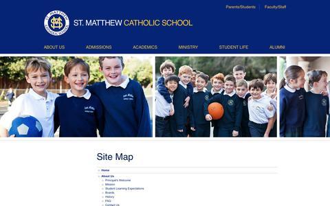 Screenshot of Site Map Page stmatthewcath.org - St. Matthew School: Site Map - captured Dec. 1, 2016