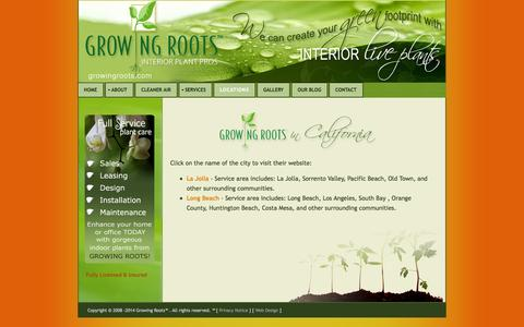 Screenshot of Locations Page growingroots.com - Growing Roots - California Locations - captured Oct. 27, 2014