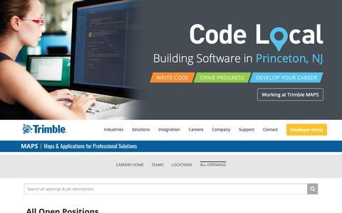 Screenshot of Jobs Page trimble.com - Careers - captured May 9, 2019