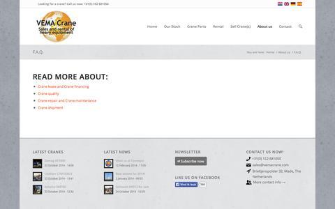 Screenshot of FAQ Page vemacrane.com - F.A.Q. - VEMA Crane - captured Oct. 26, 2014