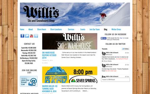 Screenshot of Blog willisskiandboard.com - Blog : Willi's Ski and Snowboard Shop - captured Oct. 26, 2014