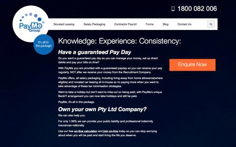 Screenshot of Home Page payme.com.au - Contractor Payroll, Salary Packaging, Novated Leasing | PayMe - captured Jan. 26, 2016
