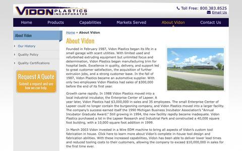 Screenshot of About Page vidonplastics.com - About Vidon | Vidon Plastics Inc - captured Oct. 18, 2018