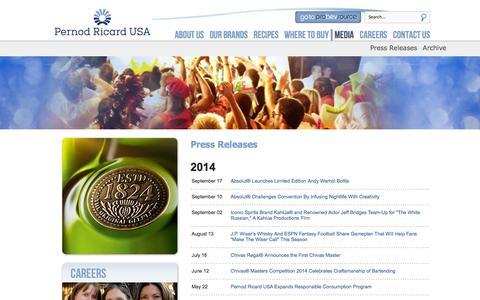 Screenshot of Press Page pernod-ricard-usa.com - Media - captured Sept. 29, 2014