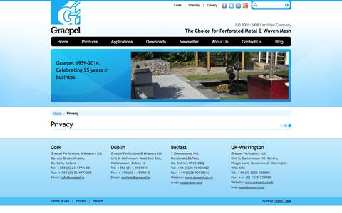 Screenshot of Privacy Page graepel.ie - Graepel - Privacy - captured Oct. 3, 2014