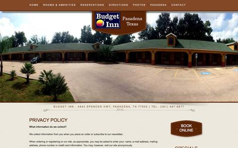 Screenshot of Privacy Page budgetinnpasadena.com - Contact Budget Inn Pasadena Texas TX Hotels Motels Accommodations - captured June 17, 2016